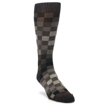 Image of Chestnut Gray Digi Checkered Wool Men's Casual Socks (side-1-front-02)
