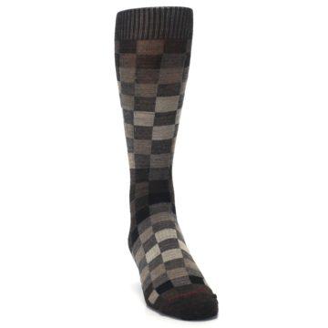 Image of Chestnut Gray Digi Checkered Wool Men's Casual Socks (side-1-front-03)