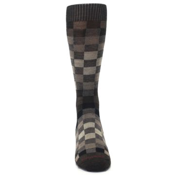 Image of Chestnut Gray Digi Checkered Wool Men's Casual Socks (front-04)