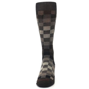 Image of Chestnut Gray Digi Checkered Wool Men's Casual Socks (front-05)