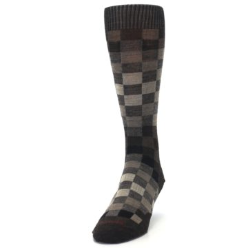 Image of Chestnut Gray Digi Checkered Wool Men's Casual Socks (side-2-front-06)