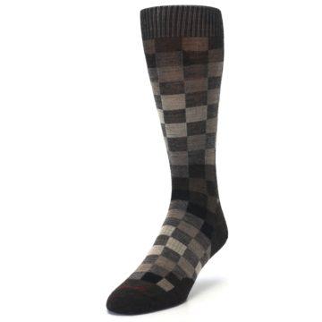 Image of Chestnut Gray Digi Checkered Wool Men's Casual Socks (side-2-front-07)