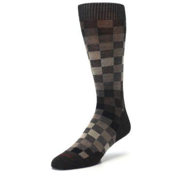 Image of Chestnut Gray Digi Checkered Wool Men's Casual Socks (side-2-front-08)
