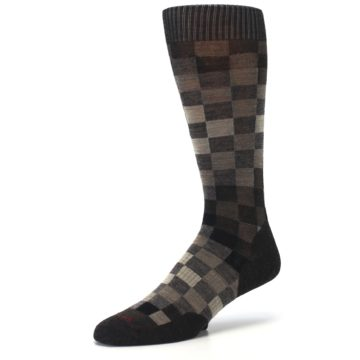 Image of Chestnut Gray Digi Checkered Wool Men's Casual Socks (side-2-09)
