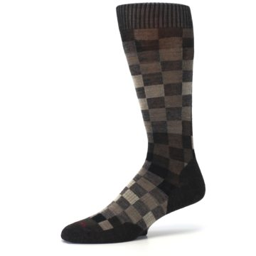 Image of Chestnut Gray Digi Checkered Wool Men's Casual Socks (side-2-10)