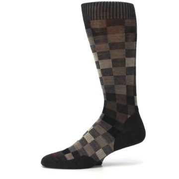 Image of Chestnut Gray Digi Checkered Wool Men's Casual Socks (side-2-11)