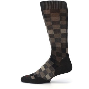 Image of Chestnut Gray Digi Checkered Wool Men's Casual Socks (side-2-12)
