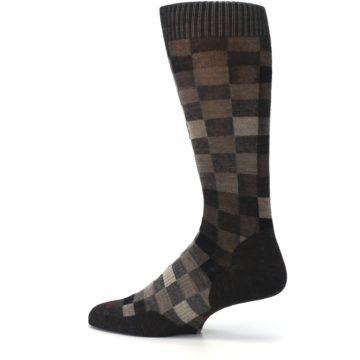 Image of Chestnut Gray Digi Checkered Wool Men's Casual Socks (side-2-13)