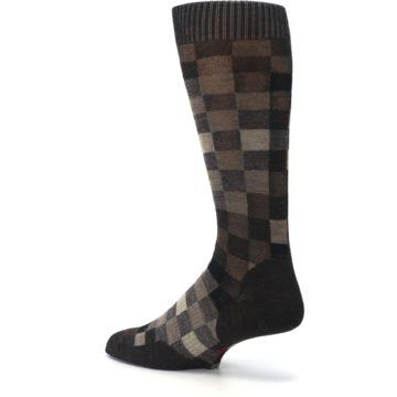 Image of Chestnut Gray Digi Checkered Wool Men's Casual Socks (side-2-back-14)
