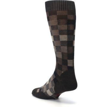 Image of Chestnut Gray Digi Checkered Wool Men's Casual Socks (side-2-back-15)