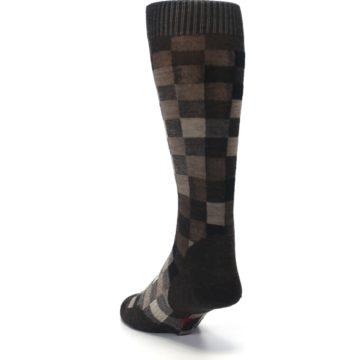 Image of Chestnut Gray Digi Checkered Wool Men's Casual Socks (side-2-back-16)