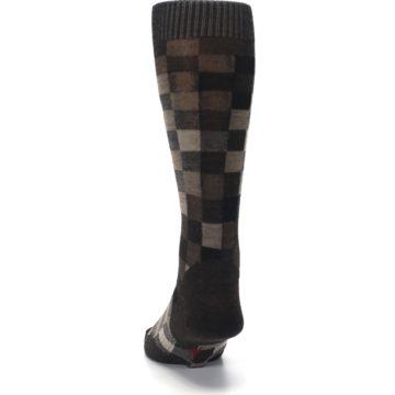 Image of Chestnut Gray Digi Checkered Wool Men's Casual Socks (back-17)