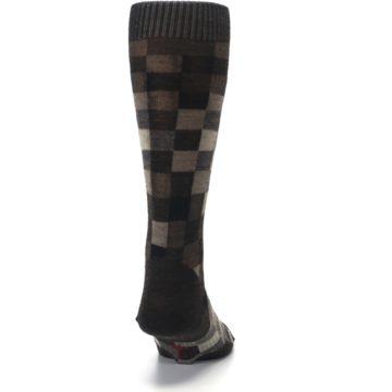Image of Chestnut Gray Digi Checkered Wool Men's Casual Socks (back-19)