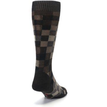 Image of Chestnut Gray Digi Checkered Wool Men's Casual Socks (side-1-back-20)