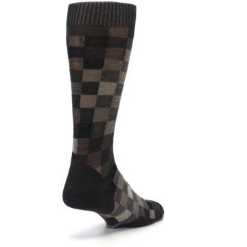 Image of Chestnut Gray Digi Checkered Wool Men's Casual Socks (side-1-back-21)
