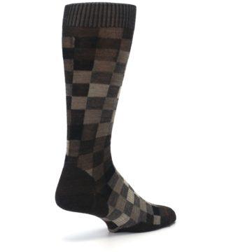 Image of Chestnut Gray Digi Checkered Wool Men's Casual Socks (side-1-back-22)