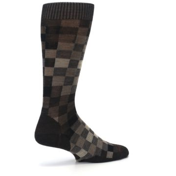 Image of Chestnut Gray Digi Checkered Wool Men's Casual Socks (side-1-23)