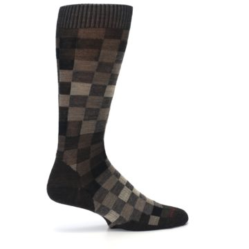 Image of Chestnut Gray Digi Checkered Wool Men's Casual Socks (side-1-24)