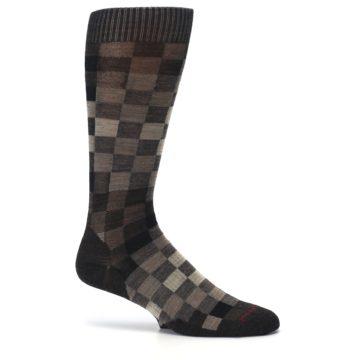 Image of Chestnut Gray Digi Checkered Wool Men's Casual Socks (side-1-25)