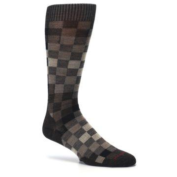 Image of Chestnut Gray Digi Checkered Wool Men's Casual Socks (side-1-26)