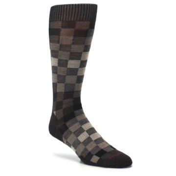 Image of Chestnut Gray Digi Checkered Wool Men's Casual Socks (side-1-27)
