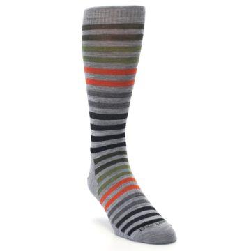 Image of Gray Orange Green Stripe Wool Men's Casual Socks (side-1-front-02)