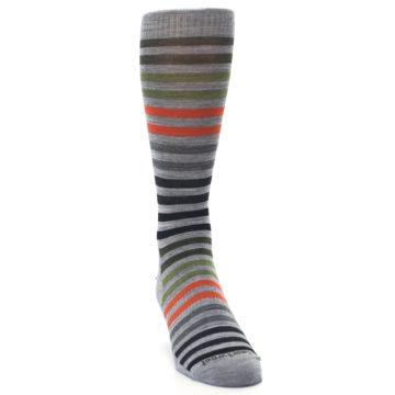 Image of Gray Orange Green Stripe Wool Men's Casual Socks (side-1-front-03)
