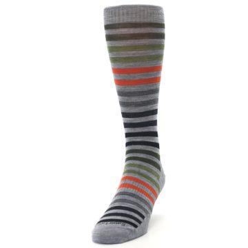 Image of Gray Orange Green Stripe Wool Men's Casual Socks (side-2-front-06)