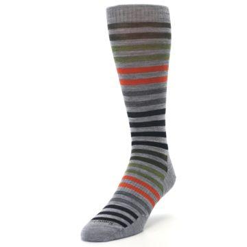 Image of Gray Orange Green Stripe Wool Men's Casual Socks (side-2-front-07)