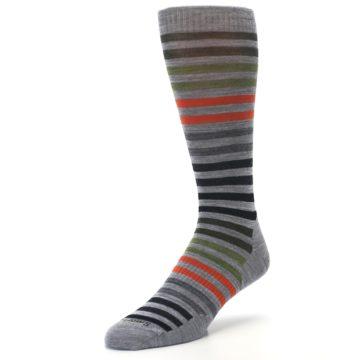 Image of Gray Orange Green Stripe Wool Men's Casual Socks (side-2-front-08)
