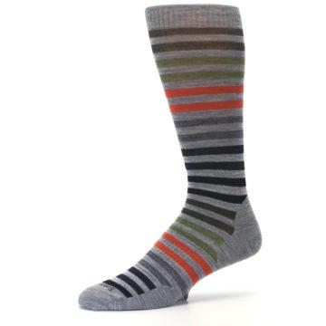 Image of Gray Orange Green Stripe Wool Men's Casual Socks (side-2-10)