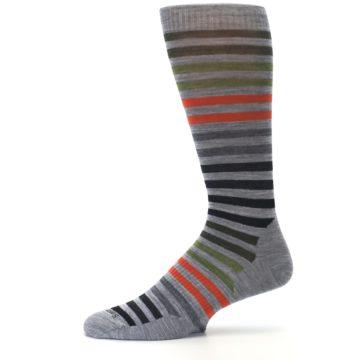 Image of Gray Orange Green Stripe Wool Men's Casual Socks (side-2-11)