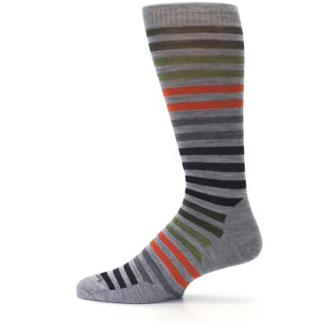 Image of Gray Orange Green Stripe Wool Men's Casual Socks (side-2-12)