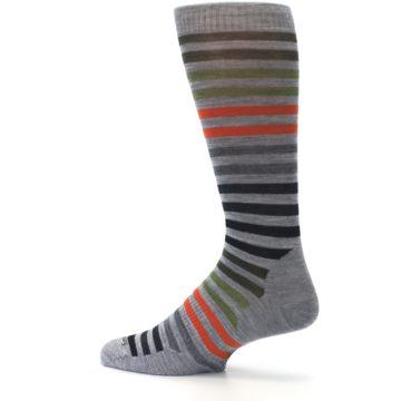 Image of Gray Orange Green Stripe Wool Men's Casual Socks (side-2-13)