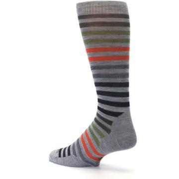 Image of Gray Orange Green Stripe Wool Men's Casual Socks (side-2-back-14)