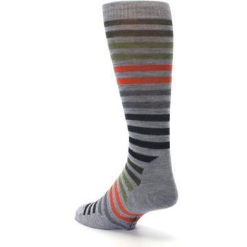 Image of Gray Orange Green Stripe Wool Men's Casual Socks (side-2-back-15)