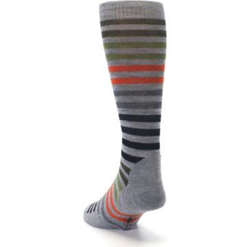 Image of Gray Orange Green Stripe Wool Men's Casual Socks (side-2-back-16)