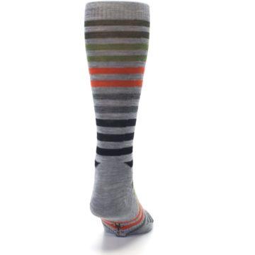 Image of Gray Orange Green Stripe Wool Men's Casual Socks (back-19)