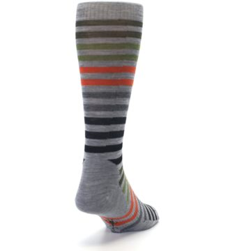 Image of Gray Orange Green Stripe Wool Men's Casual Socks (side-1-back-20)