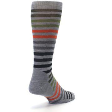Image of Gray Orange Green Stripe Wool Men's Casual Socks (side-1-back-21)
