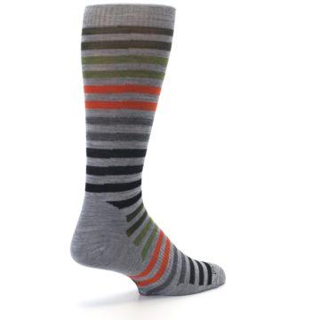 Image of Gray Orange Green Stripe Wool Men's Casual Socks (side-1-back-22)