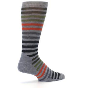 Image of Gray Orange Green Stripe Wool Men's Casual Socks (side-1-23)