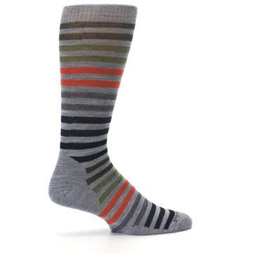 Image of Gray Orange Green Stripe Wool Men's Casual Socks (side-1-24)