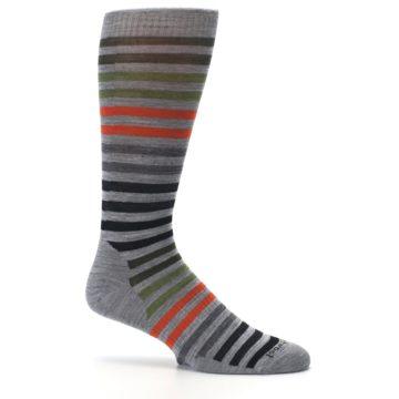 Image of Gray Orange Green Stripe Wool Men's Casual Socks (side-1-25)