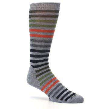 Image of Gray Orange Green Stripe Wool Men's Casual Socks (side-1-26)