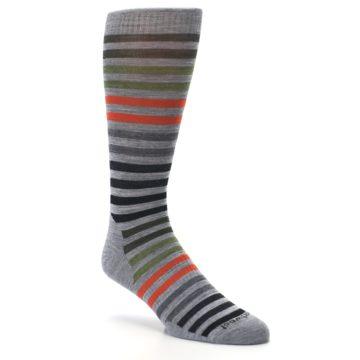 Image of Gray Orange Green Stripe Wool Men's Casual Socks (side-1-27)