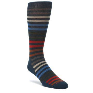 Lochness-Blue-Stripe-Wool-Mens-Casual-Socks-Smartwool