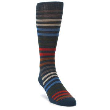 Image of Lochness Blue Stripe Wool Men's Casual Socks (side-1-front-02)