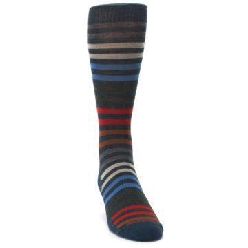 Image of Lochness Blue Stripe Wool Men's Casual Socks (side-1-front-03)