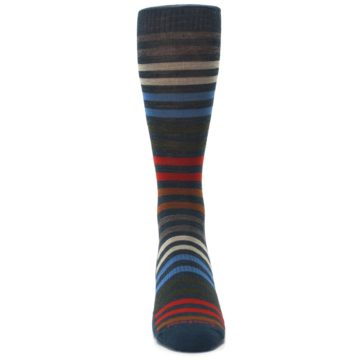 Image of Lochness Blue Stripe Wool Men's Casual Socks (front-04)
